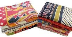 kantha Quilt Black Paisley Indian Cotton Handmade Bedspread  DIWALI OFFER