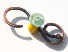 Bright Earth Bubble Button Handmade lampwork glass bead by Genea