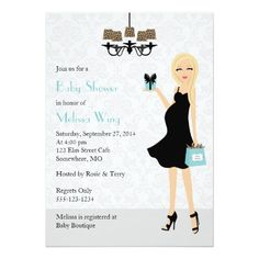 Robin Egg Blue Leopard Pregnant Mom Baby Shower 5x7 Paper Invitation Card