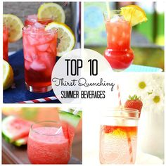 Top Ten Thirst Quenching Summer Beverages via waittilyourfathergetshome.com #summer #drinks #features Party Drinks, Cocktail Drinks, Fun Drinks, Healthy Drinks, Healthy Food, Healthy Recipes, Drink Recipes, Healthy Hair, Smoothie Recipes