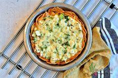 Tarte au chou-fleur sur croûte de patate douce Lard, Quiche, Biscuits, Good Food, Food And Drink, Breakfast, Tapas, Charlotte, Vegan