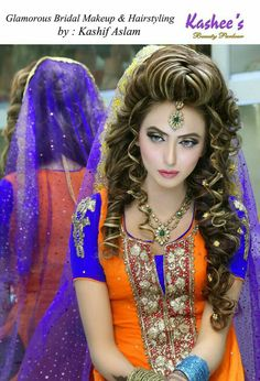 Pakistani bridal Makeup by kashif aslam by kashee 's beauty parlour Bridal Makeup Looks, Bride Makeup, Bridal Beauty, Bridal Looks, Pakistani Party Hairstyle, Pakistani Bridal Makeup, Mehndi Hairstyles, Girl Hairstyles, Kashees Hairstyle