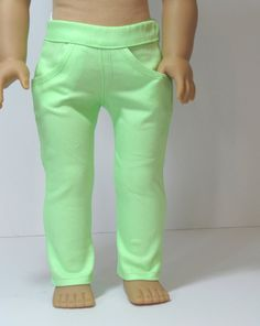 Trendy neon green skinny jeans by AvannaGirl on Etsy. Made using the Liberty Jane Clothing Skinny Jeans pattern, found at http://www.pixiefaire.com/products/skinny-jeans-18-doll-clothes. #pixiefaire #libertyjane #skinnyjeans