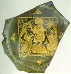 Roman gold glass medallion with Christ between two Saints, 3th century A.D…
