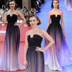 Find More Prom Dresses Information about Fashion New Lily Collins' Violet Elie Saab Evening Dress 2015  Chiffon Long Prom Dresses Navy Pleats Women Party Dress,High Quality dress korean,China dress pajamas Suppliers, Cheap dress jeans for women from party  Queen Fashion Store on Aliexpress.com