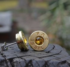 Bullet Earrings stud or post brass/gold PMC .38 by WoodenTreasures