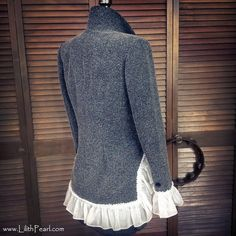INSPIRATION (REAR) ... Bohemian Jacket Upcycled with Vintage Crochet, a Sheer Ruffle and a Funky Hemline