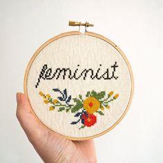 Feminist Modern Cross Stitch Kit by JunebugandDarlin on Etsy Cross Stitch Fabric, Cross Stitch Kits, Cross Stitching, Cross Stitch Embroidery, Modern Cross Stitch Patterns, Counted Cross Stitch Patterns, Cross Stitch Designs, Dmc Embroidery Floss, Embroidery Patterns