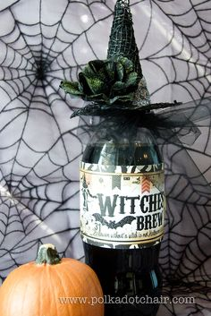 Cute idea but would probably be hard to find the witch hat....love the label.