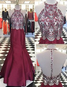 Round Neck Backless Appliques Prom Dress with Beading,Fashion Prom Dress,Sexy Party Dress,Custom Made Evening Dress