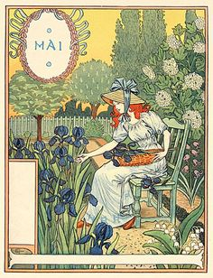 Eugène Samuel Grasset was a Franco-Swiss decorative artist who worked in Paris, France in a variety of creative design fields during the Belle Époque. He is considered a pioneer in Art Nouveau design. Illustration Française, Illustrations, Belle Epoque, Vintage Art, Vintage World Maps, Vintage Graphic, Eugene Grasset, Davidson Galleries, Walter Crane