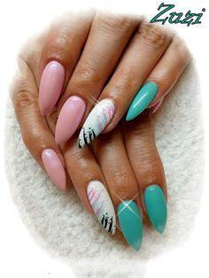 Gel#nail#pink#white
