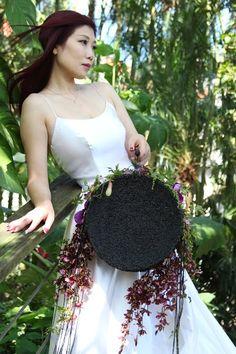 black handbag #black #wedding #bride #handbag #seed #bouquet #orchids #taiwan #taipei #design #workshop Floral Purses, Taiwan, Wedding Bride, Flowers, Black, Design, Black People, Bride