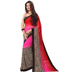 Pleasing Red Color Premium Georgette Printed Saree at just Rs.499/- on www.vendorvilla.com. Cash on Delivery, Easy Returns, Lowest Price.