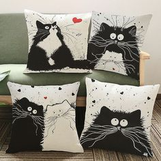 Sew Cushions Adorable Cartoon Cute Cat Pillow Cover Linen Decorative Home decor sofa pillow case - For the cat lovers! You'll fall in love with these adorable, cute cat pillow covers. Throw Pillow Cases, Throw Pillows, Cover Pillow, Floor Pillows, Owl Pillows, Burlap Pillows, Bolster Pillow, Sofa Throw, Printed Sofa
