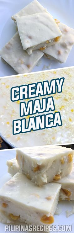 Maja Blanca is made from coconut milk, corn starch or gelatin, sweet corn kernels, milk, sugar and an option to put toasted coconut meat or Latik (browned coconut cream crumbs) as toppings.