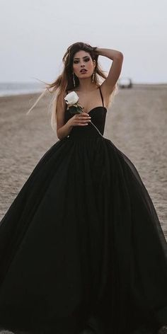 21 Black Wedding Dresses With Edgy Elegance black wedding dresses ball gown with spaghetti straps sweetheart neckline simple liastubllaofficial Pretty Dresses, Sexy Dresses, Beautiful Dresses, Prom Dresses, Formal Dresses, Black Wedding Gowns, Gothic Wedding, Gown Wedding, Wedding Bride
