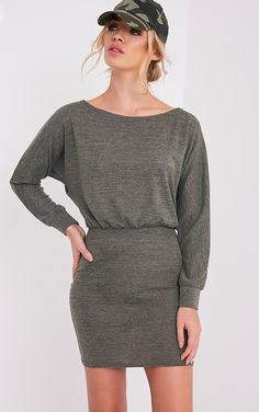Lerie Khaki Waist Fitted Knit Dress