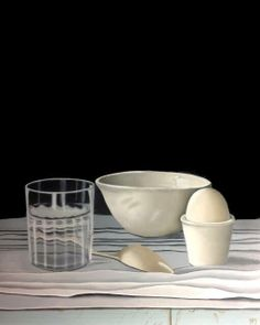 Stilleven in wit. Stilllife, oilpainting on panel www.hellamaas.blogspot.nl All whites and a little blue. Glass and vintage silverwear.