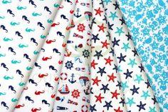 Marine red, navy blue & turquoise set with seahorses, starfish, yachts and steering wheels / Zestaw marynarski