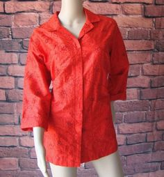 Chico's Design Red Chicos Embroidered Beaded Silk Shirt Jacket 2 (M) Beautiful #Chicos #BasicJacket
