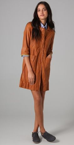 Distressed Leather Dress in Pumpkin by Burning Torch