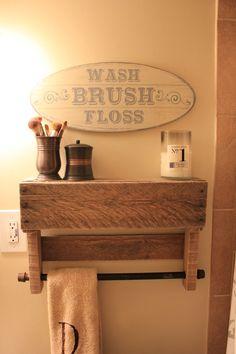Rustic Pallet Shelf & Towel Rack by MadeWithLoveByBess on Etsy