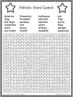 Students will enjoy this word search during your celebrations for the 4th of July! FREE!