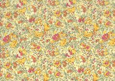 Fat eighth Claire-Aude T, traditional floral Liberty print fat eighth, soft yellow, pink and sage green Liberty of London tana lawn