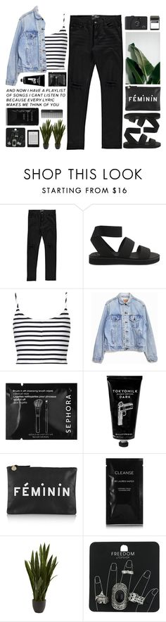 """""""Untitled #2123"""" by tacoxcat ❤ liked on Polyvore featuring Boohoo, Cheap Monday, Topshop, Levi's, Sephora Collection, TokyoMilk, Clare V., Cleanse by Lauren Napier, Nearly Natural and FREDS at Barneys New York"""