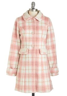 Warm and Fuzzy Coat in Pink - Fall, Winter, Better, Pink, Long, Woven, 3, Pink, Tan / Cream, Plaid, Buttons, Pockets, Long Sleeve