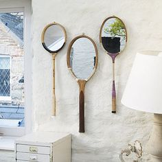 Unique tennis racket mirror, made with vintage tennis rackets! Think I might make one or two of these as gifts :)