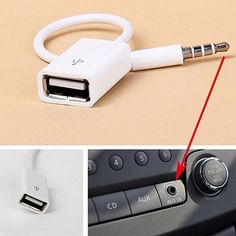 New Fashion White 3.5mm Male AUX Audio Plug Jack To USB 2.0 Female Converter Cord Adapter Cable For Car MP3 For Phone Hot