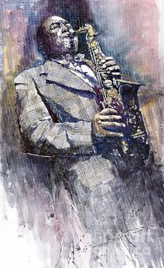 Jazz Saxophonist Charlie Parker Print of a watercolor by Yuriy  Shevchuk
