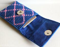 Tarjetero tela escocesa azul y rosa, tarjetas de puerta hecha a mano, azul bolsa fabricantes tarjetero
