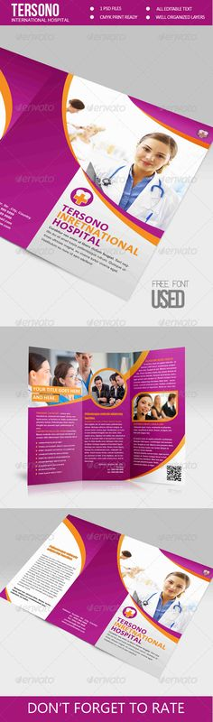 """Trifold Brochure - Tersono Medical Template  #GraphicRiver         """"Medical Trifold Brocure Template"""" is a great brocure for promote your company and other necessary.  Package Include  Main File.PSD  Preview.JPG  Userguide."""