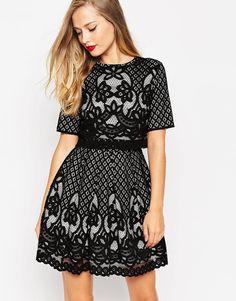 ASOS Placed Crop Top Lace Mini Skater Dress