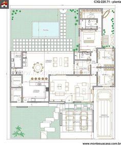Pinterest: @claudiagabg | Casa 3 cuartos 1 estudio piscina deposito