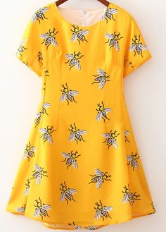 A Provencal-style cicada print might be hard to find, but this bee-printed dress has a similar feel.