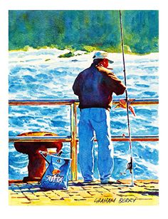 """Breezy morning fishing by Graham Berry Watercolor ~ 12"""" x 9"""""""