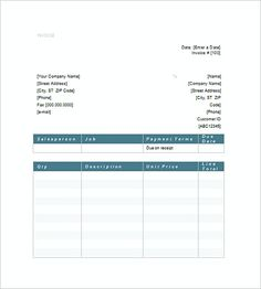 Very Simple Invoice Template With Blue Theme  Invoice Templates