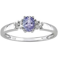 Miadora 10k White Gold Oval-cut Tanzanite and Diamond Accent Ring with Bonus Earrings