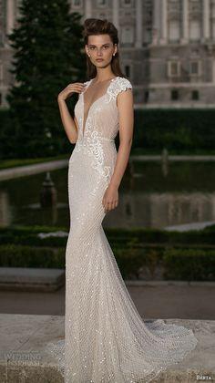 berta fall 2016 bridal cap sleeves deep v plunging neckline lace embroidery sheath wedding dress