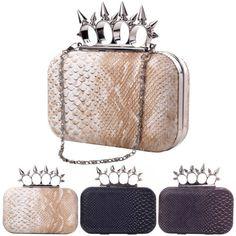 Womens-Spike-Knuckle-Ring-Snake-Skin-Leather-Clutch-Handbag-Shoulder-Evening-Bag