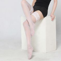 Original Sexy Womens Floral Lace Top Stay Up Thigh High Stockings Over The Knee stockings for Lady Nightclubs Solid Pantyhose