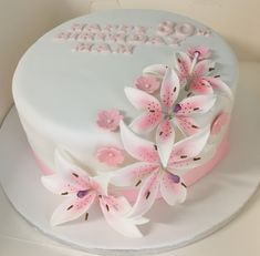 70 Ideas For Flowers Birthday Cake Lily 21st Bday Cake, Birthday Cake With Flowers, 60th Birthday Cakes, Beautiful Birthday Cakes, Wedding Cakes With Flowers, Beautiful Cakes, Amazing Cakes, Cake Decorating Designs, Cake Decorating Piping
