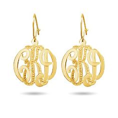 Gold Vermeil Diamond Cut Monogram Earrings