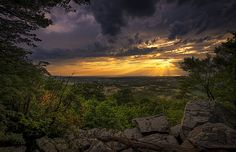 Here's another shot from an incredible night shooting the sunset up at the Bear's Den with George Fletcher.  The Bear's Den is located in the Blue Ridge Mountains in Northern Virginia and this particular view looks out over the Shenandoah River towards the West.  I told George that I found it particularly unfair that this view is a mere five minutes from his house. I believe earlier that night we had lost power as a good sized thunderstorm had rolled through with high winds and plenty of…