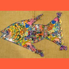 Recycled fish. Made from up cycled scraps. One of a kind! Going from waste to wonder! Turn trash into art! #RecycleReduceReuse #Creative #handmade #EcoArt
