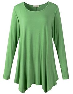 LARACE Womens Long Sleeve Flattering Comfy Tunic Loose Fit Flowy Top (2X, Green) - http://www.darrenblogs.com/2017/01/larace-womens-long-sleeve-flattering-comfy-tunic-loose-fit-flowy-top-2x-green/